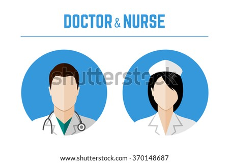 Medical icons. Doctor and nurse avatars. Flat style design - stock photo