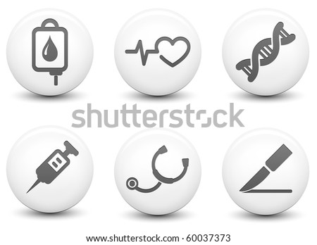 Medical Icons on Round Black and White Button Collection Original Illustration - stock photo