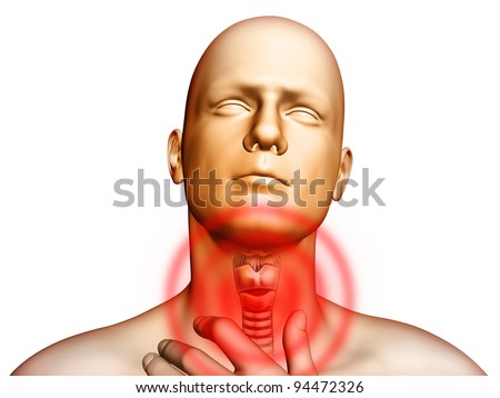 Medical illustration showing pain located in the throat area. Digital illustration. - stock photo