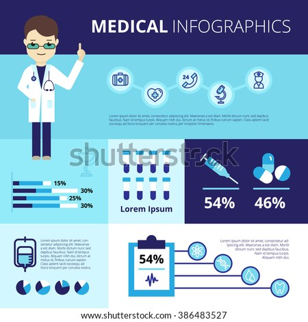Medical Infographics With Emergency Care Icons - stock photo