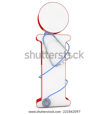 medical information icon and stetoscope. 3d renderd - stock photo