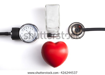 Medical Instrument Isolated on White Background with Red Heart - stock photo