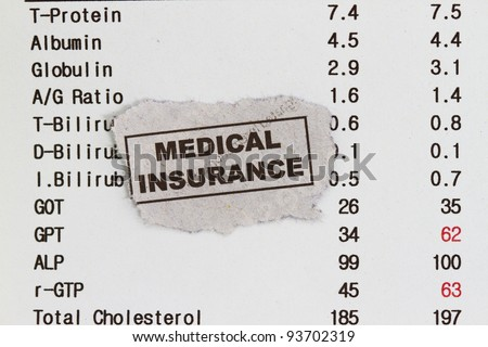 Medical insurance cutout with rgpt cholesterol globulin and albumin. - stock photo