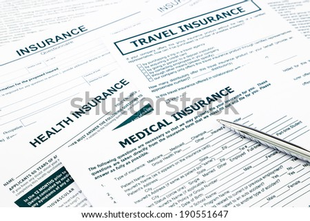 medical insurance form, paperwork and questionnaire for insurance concepts - stock photo
