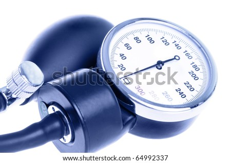 Medical manometer closeup with a bulb. Isolated on white background and toned blue. - stock photo