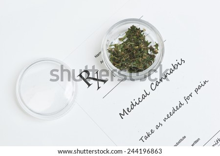Medical marijuana prescription with container and lid. - stock photo
