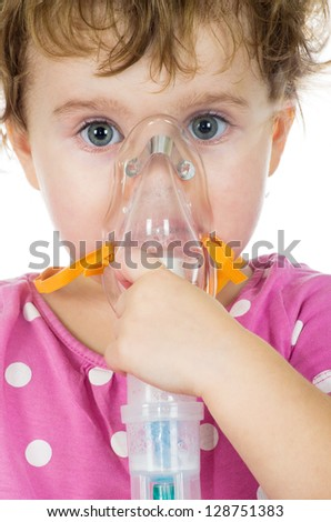 medical mask on baby face - stock photo