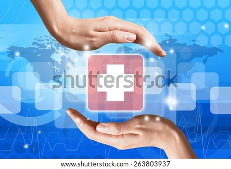 Medical. Medical icon,First Aid in hand - stock photo