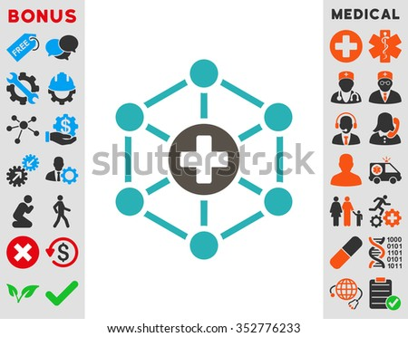 Medical Network glyph icon. Style is bicolor flat symbol, grey and cyan colors, rounded angles, white background. - stock photo