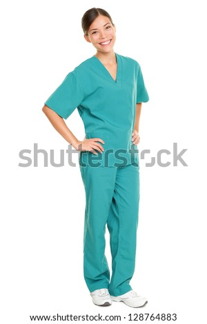 Medical nurse isolated in full body length in green scrubs on pure white background. Multiracial Asian and Caucasian female medical professional doctor or nurse smiling happy and joyful - stock photo