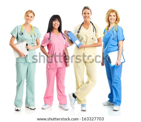 Medical nurse woman Standing Isolated on white background. - stock photo