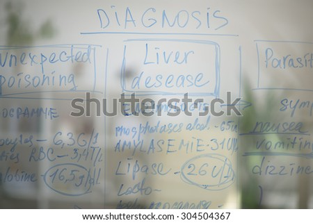 Medical office background. View of transparent, glass board with test results - stock photo