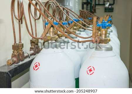 Medical Oxygen Tank in Hospital control room - stock photo