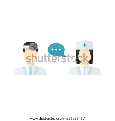 medical people,worker icons set male Doctor and female Nurse avatars in uniform ,in flat style with a color speech bubbles conceptual health care - stock photo