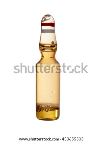 Medical phial, vial, ampoule, ampule - isolated on white. Tiny glass bottle, closeup shot.  - stock photo