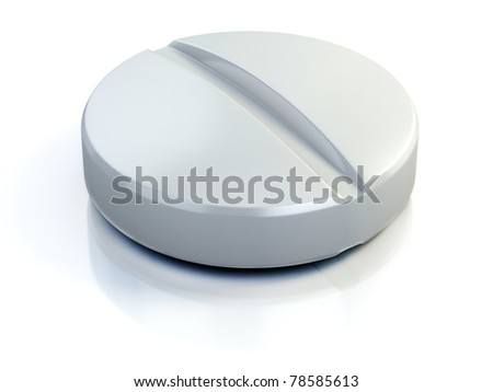 medical pill - tablet 3d illustration isolated on the white - stock photo