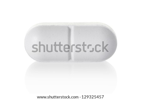 Medical pill tablet isolated on white, clipping path included - stock photo