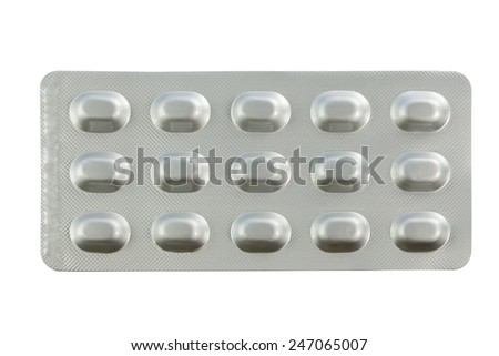 Medical pills in blister packs isolated on white background with work path - stock photo