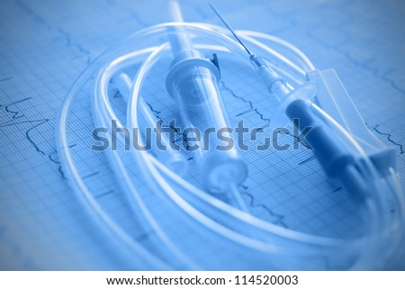 Medical plastic intravenous system - stock photo