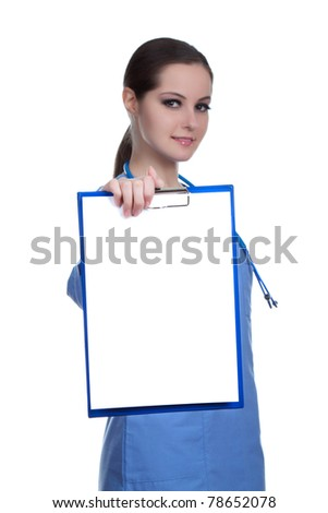 Medical professional person with stethoscope: Nurse, doctor holding blank clipboard, white board, signboard, showing an empty bill board, present copy space for text. Isolated over white background. - stock photo