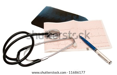 Medical Records & Stethoscope - stock photo