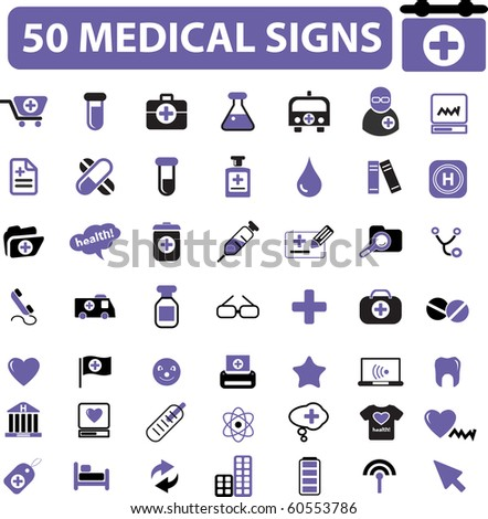 medical services, scientific research, medicine, health care, hospital, clinics, doctor, therapy, pills, treatment, technology, emergency department, first help, diagnosis icons, signs vector  - stock photo