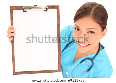 Medical sign. Young woman doctor / nurse showing empty blank clipboard sign with copy space for text. Mixed race asian caucasian female model isolated over white background. - stock photo