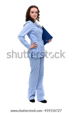 Medical sign. Young woman doctor or nurse with copy space for text. Caucasian female model isolated over white background. - stock photo