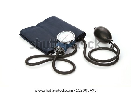 Medical sphygmomanometer for blood pressure control isolated on white - stock photo