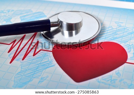 medical stethoscope and heart, extar close up - stock photo