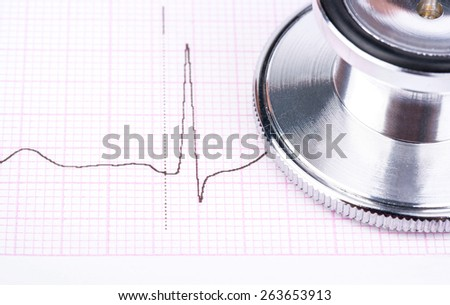 Medical stethoscope to listen to the heart on the cardiogram closeup - stock photo
