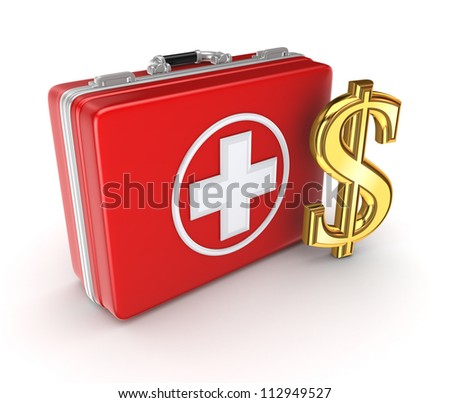 Medical suitcase and golden dollar sign.Isolated on white background.3d rendered. - stock photo