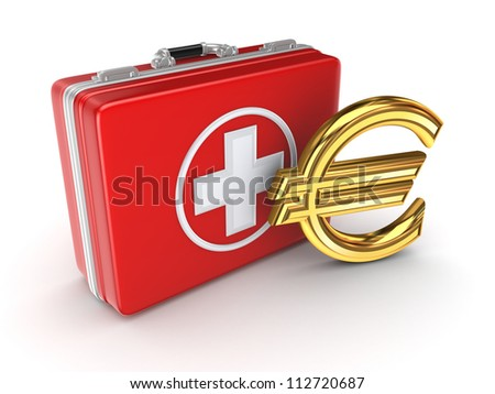 Medical suitcase and golden euro sign.Isolated on white background.3d rendered. - stock photo