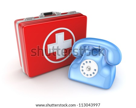 Medical suitcase and telephone.Isolated on white background.3d rendered. - stock photo
