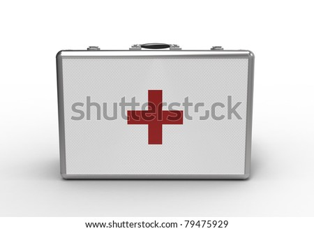 Medical suitcase on a white background - stock photo