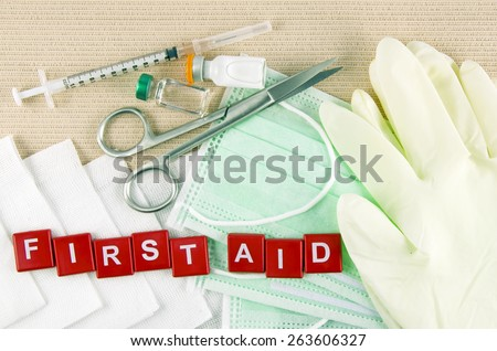 Medical Supply, Medical Emergency, First Aid Kit. - stock photo