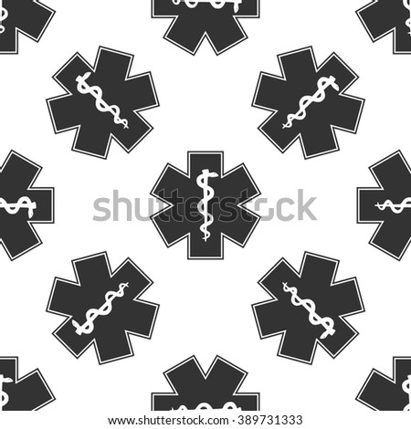 Medical symbol of the Emergency - Star of Life icon seamless pattern on white background - stock photo