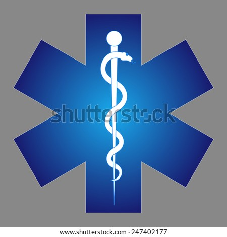 Medical symbol of the Emergency - Star of Life. The illustration on gray background.  - stock photo