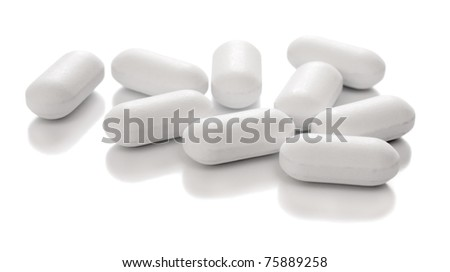 medical tablets, over white - stock photo