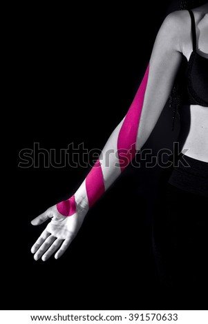 medical taping for correcting arm position - stock photo