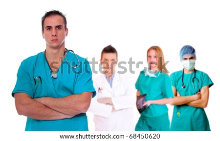 medical team over white background - stock photo