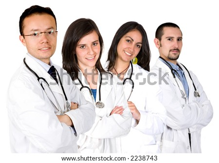 medical team with male and female doctors over a white background - stock photo
