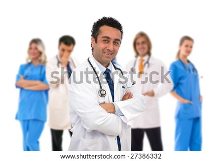 medical teamwork concept with a senior doctor in front of his team - stock photo