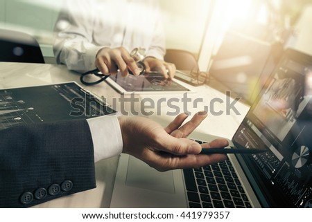 Medical technology network team meeting concept. Doctor hand working smart phone modern digital tablet  laptop computer medical chart interface, double exposure effect photo    - stock photo