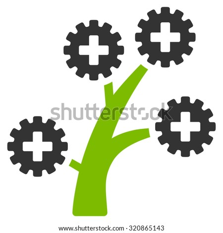 Medical Technology Tree glyph icon. Style is bicolor flat symbol, eco green and gray colors, rounded angles, white background. - stock photo