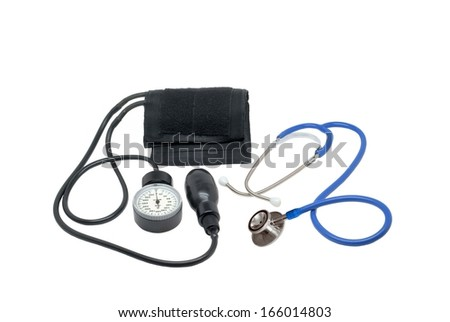 Medical tonometer and stethoscope - stock photo