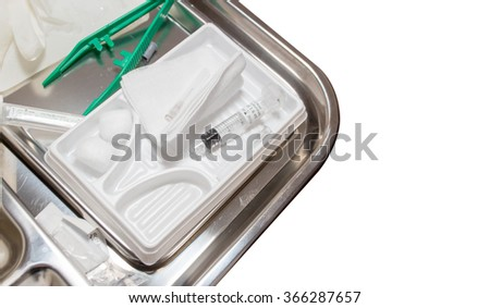 medical tool set for injection on isolate - stock photo