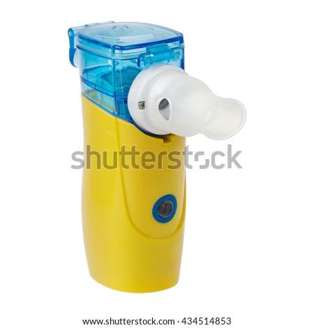 Medical ultrasonic mesh inhaler, nebulizer, nebuliser, nebular. Respiratory medicine. Asthma breathing treatment. Bronchitis, asthmatic health equipment. Illness care, isolated on white - stock photo