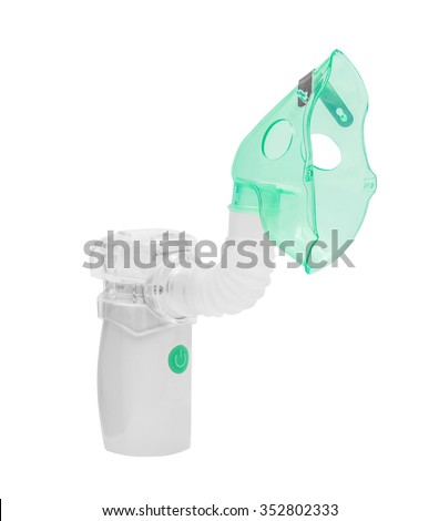Medical ultrasonic mesh inhaler, nebulizer, nebuliser, nebular with mask. Respiratory medicine. Asthma breathing treatment. Bronchitis, asthmatic health equipment. Illness care, isolated on the white  - stock photo