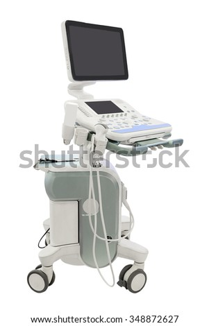 medical ultrasound diagnostic machine isolated under the white background - stock photo